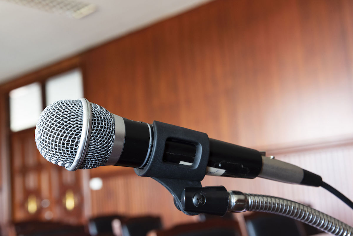 microphone, table and chair in the courtroom of the judiciary - courtroom AV